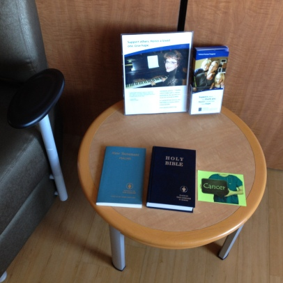 Photo taken at the family lounge in the unit. The cancer track is one Josh made prior to his admission and left for others to find. The Bibles were left by the Gidieon's group.